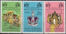 Nouvelles Hebrides 1977 Michel 441 - 443 Neuf ** Cote (2005) 3.00 Euro 25 Ans Régence De Reine Elisabeth II - Légende Anglaise
