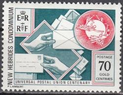 Nouvelles Hebrides 1974 Michel 399 Neuf ** Cote (2005) 1.20 Euro 100 Ans UPU - Légende Anglaise