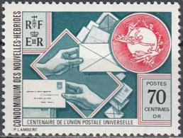 Nouvelles Hebrides 1974 Michel 400 Neuf ** Cote (2005) 1.30 Euro 100 Ans UPU - Légende Française