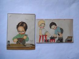 2 DECOUPIS DE CARTES POSTALES BEATRICE MALLET LION NOIR - Enfants