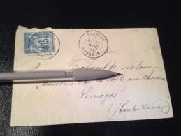 Courrier, Départ De Uzerche,  Corrèze, Timbre Type Sage 15 C, Tampon OR - Marcophilie (Lettres)