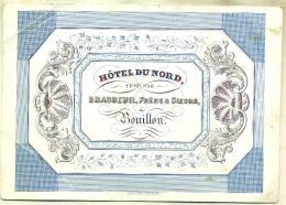 Carte Porcelaine / Porceleinkaart 19ème Siècle - Hôtel Du Nord Tenu Par Brasseur, Frère & Soeurs à Bouillon - Publicité