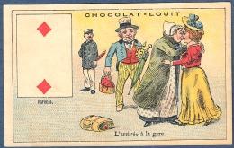 Chromo Chocolat Louit Litho Courbe Rouzet Carte à Jouer 2 Deux De Carreau Parents L'arrivée à La Gare Bagage Embrassade - Louit