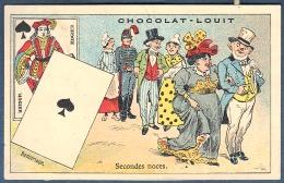 Chromo Chocolat Louit Litho Courbe Rouzet Carte à Jouer Valet De Pique Hogier Remariage Secondes Noces Cortège - Louit