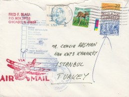 1992 Chicago Stamp Expo Cover To Turkey Insufficient Address 29c Expo Stamp + 2c+ 19c Stamps - United States