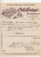 """Germania - Nurtingen - Fattura Della Ditta """" C.A. Greiner """"  Datata  9 Giugno 1898 - (BPLAST7) - Germania"""