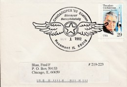1992 Cover & Contents Chicagopex 92 Aerophilately Special Cancel Von Karman 29 C Stamp - United States