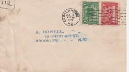 1919 Cover 1c Balboa + Panama 2c Stamps Baltimore M/c Cancel - United States