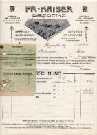 """Austria - Bregenz  - Fattura Della Ditta """" FR. Kaiser """"  Datata  21 Novembre 1912 Con Ricevuta Di Pagamento - (BPLAST7) - Austria"""