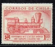 Chile 1954, Michel# 493 ** 100 Jahrfeier Der Südamerikanischen Eisenbahn - Eisenbahnen