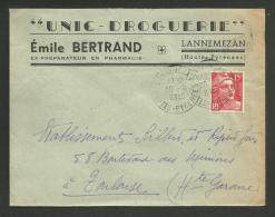 """Enveloppe Entete """" Droguerie E. BERTRAND """" à LANNEMEZAN - HAUTES PYRENEES /  10.1949 - Marcophilie (Lettres)"""