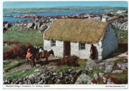 IRELAND/EIRE - THATCHED COTTAGE, CONNEMARA, CO.GALWAY (PUBL.JOHN HINDE) /THEMATIC STAMP - U.I.T. - Galway