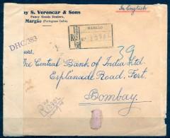 1944 , INDIA PORTUGUESA , MARGAO - BOMBAY , SOBRE CERTIFICADO , CENSURAS - Portuguese India
