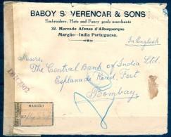 1945 , INDIA PORTUGUESA , MARGAO - BOMBAY , SOBRE CERTIFICADO , CENSURAS - Portuguese India