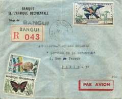 1961  Lettre Avion Recommandée Pour Lla France Oiseau, Papillon, - Central African Republic