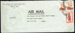 Lettre Avion Pour Les USA   COB 287 Masque 2 Fr; 276 X2 Léopold II X2 - 1947-60: Covers