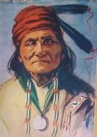 Cpa  Portrait  Signé Du CHEF INDIEN  CHIEF GERONIMO , 1908 APACHE  , Artist Signed L. PETERSON Recto Verso Prix Fixe - Indiens De L'Amerique Du Nord