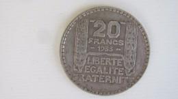20 Frs Turin Argent 1933. Belle Pièce. - France