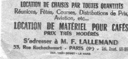 TICKET DE LOCATION DE CHAISE(PARIS) - Vieux Papiers