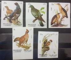 GS22 - Sharjah 1972 Mi. 1036-1040 MNH Complete Set 5v. - Birds Issue - Imperforated - Sharjah