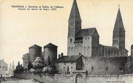 Tournus (Saône-et-Loire) - Enceinte Et Eglise De L'Abbaye, D'après Un Dessin De Sagot - Photo Combier - Frankreich