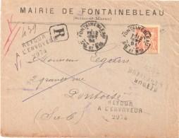 3255 FONTAINEBLEAU Seine Et Marne Lettre Recommandée Retour à L'envoyeur 2974 DECEDE Verso Sage 40c Yv 94 Ob 12 9 1896 - Marcophilie (Lettres)