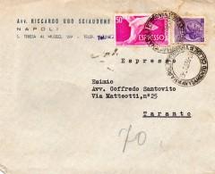 1956  LETTERA ESPRESSO  CON ANNULLO  NAPOLI FERROVIA AVVIAMENTO CELERE - 6. 1946-.. Republik