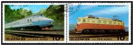 Korea 1987 Train Railway Locomotive CTO Pair – Scott 2656a  (lot - 20 - 211) - Trains