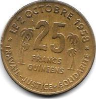 *guinea 25 Francs 1959  Km 3  Vf Rare !!! Catlog Val Vf 50,00$ - Guinée