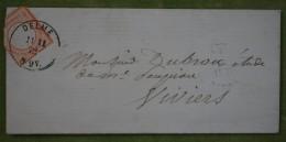 Plis De Delme, CaD 11 / 11 /1872 Sur Timbre 1/2 Groschen Pour Viviers - Elsass-Lothringen
