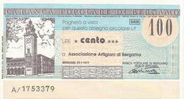 MINIASSEGNO 100 LIRE BERGAMO 26/1/77 BANCA POPOLARE DI BERGAMO - Assegni & Assegni Di Viaggio