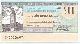 MINIASSEGNO 200 LIRE BERGAMO 9/12/76 BANCA POPOLARE DI BERGAMO - Assegni & Assegni Di Viaggio