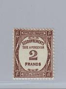 FRANCE - Timbre-Taxe Y&T 62 - 2 Francs Sépia Neuf Avec Trace De Charnière - Taxes