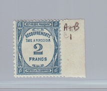 FRANCE - Timbre-Taxe Y&T 61 - 2 Francs Bleu Neuf Avec Trace De Charnière Et Bdf - Taxes