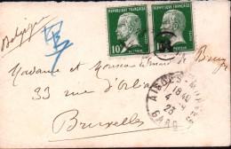 Lettre Paire Pasteur 10c Aigues Mortes Gard Pour Bruxelles - 1922-26 Pasteur