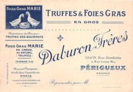 """PERIGUEUX  - Carte De Visite De La Maison """" DABURON FRERES """" 13 Et 15 Rue Gambetta  -  Truffes & Fois Gras - Visiting Cards"""