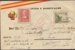 España 1939. Tarjeta Frentes Y Hospitales Del Regimiento Galicia 19 A Paris. Censura. - Marcas De Censura Nacional