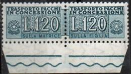 PIA - Specializzazione  :1958 :  PACCHI CONCESSIONE : £ 120 - (SAS 14 - CAR 16) - 6. 1946-.. Repubblica