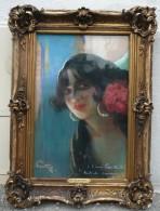 Léon Ernest Fortuné ANDRIEUX, Dit FORTUNEY (1875-1951) - Portrait De GITANE - Pastel Signé 1913 - Pastels