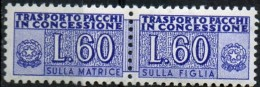 PIA - Specializzazione  :1958 :  PACCHI CONCESSIONE : £ 60 - (SAS 7/I - CAR 20) - Varietà E Curiosità