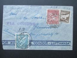 Chile 1938 Luftpost Condor Lufthansa Mischfrankatur! Via Condor Nach Hannover! Zeppelin?! - Chile