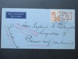 Niederländisch Indien 1933 Luftpostbrief / Per Luchtpost. Mit Luftpost Befördert Flughafen Halle / Leipzig (Schreuditz) - Nederlands-Indië