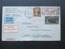 USA 1930 Special Delivery Expres Brief / Mit Luftpost Befördert Hamburg Fuhlsbüttel Flugplatz. Cedarhurst - Karlsruhe. - 1c. 1918-1940 Cartas