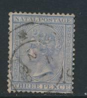 NATAL, 1882 3d Blue Wmk Crown CA, Faults - South Africa (...-1961)