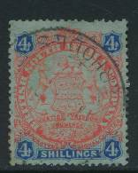 RHODESIA, 1896 4/- Miniscule Tear - Northern Rhodesia (...-1963)