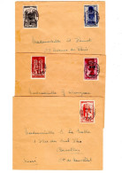 REL-L104 - FRANCE N° 663/67 Série Des Cathédrales Sur 3 Lettres De Villefranche Sur Saône Pour Niort 1945 - France