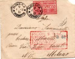 1911  LETTERA  ESPRESSO CON ANNULLO NOVARA + AMB. TORINO - MILANO - Posta Espresso
