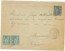 CTN42 - EP ENVELOPPE MOUCHON 15c PORT D'ENVAUX / ANVERS 31/12/1896 - Postal Stamped Stationery