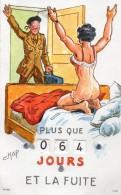 69Stm   Militaria Calendrier Quille La Fuite Soldat De Retour Avec Sa Femme En Nuisette Timbres Au Verso - Non Classificati