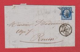 Lettre / De Paris / Pour Rouen /  31 Janvier 1856 / Cachet étoile - Marcophilie (Lettres)